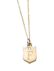 Baby initial shield necklace by Kamofie