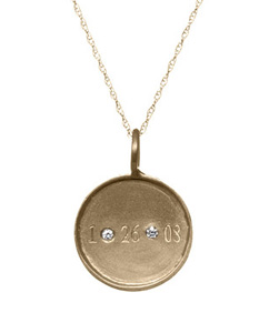 Date and diamonds disc necklace by Golden Thread