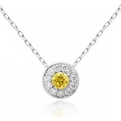 Fancy vivid yellow diamond pendant by Leibish & Co.