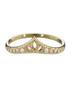 Diamond cut-out crown ring by Mizuki