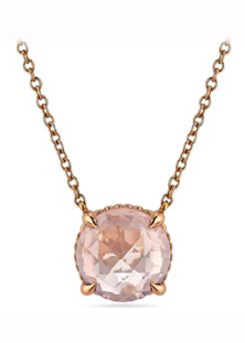 Rose quartz pendant in rose gold by Ritani