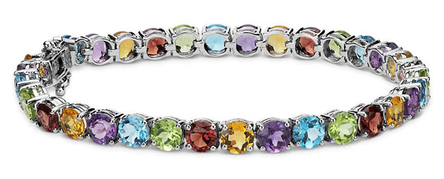 Multicolor Gemstone Bracelet in Sterling Silver (5mm) at Blue Nile