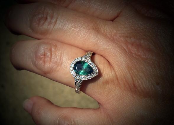 Alexandrite and diamond halo ring • Image by JoCoJenn