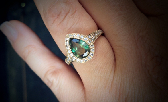 Alexandrite and diamond halo ring • Image by JoCoJenn