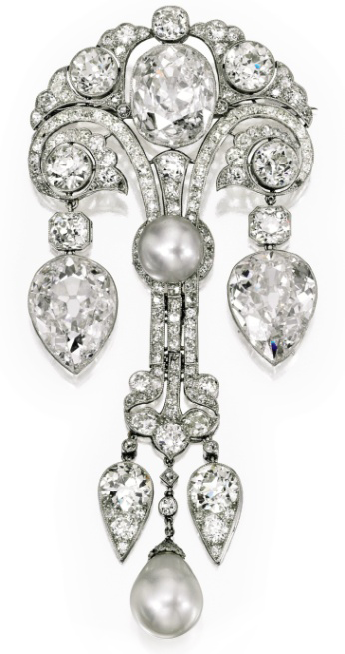 Belle Epoque Natural Pearl and Diamond Brooch, circa 1910, Sotheby's Magnificent Jewels