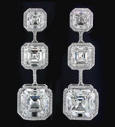Norman Silverman asscher cut diamond earrings worn by Katy Perry at the 2012 Grammy Awards