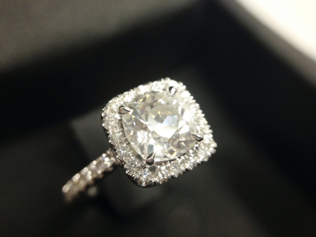 Cushion halo diamond engagement ring shared by doubledouble