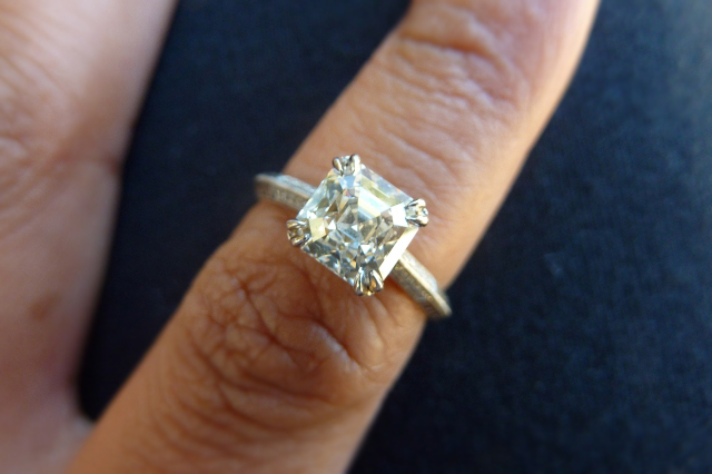 Octavia asscher cut diamond engagement ring