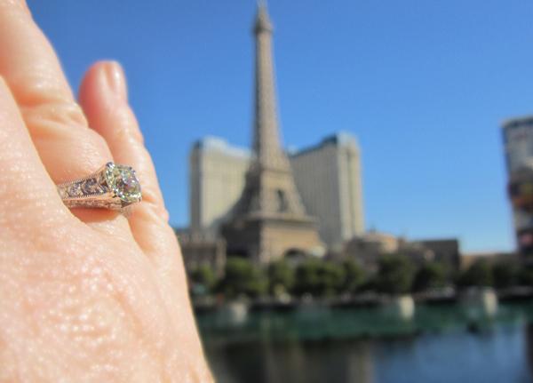 Old European Cut Diamond Ring, Hand Shot