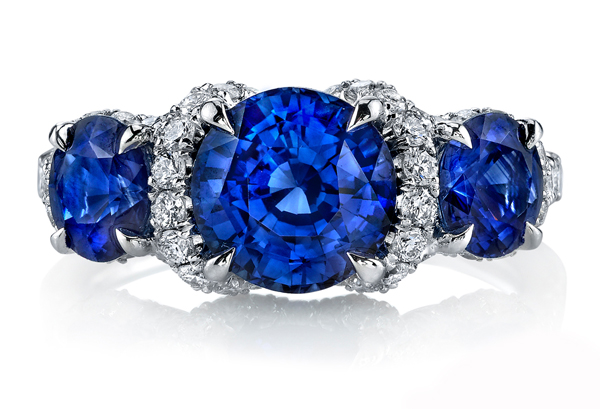 Sapphire three-stone ring by Omi Privé