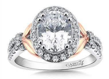 CR541WP - Oval Shape Halo Engagement Ring in 14K Rose and White Gold (0.56ct. tw.)