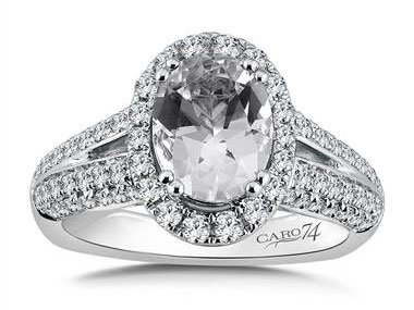 Halo Engagement Ring Mounting in 14k White Gold with Platinum Head (0.80 ct. tw.) at I.D. Jewelry