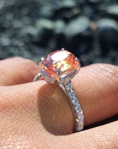 Padparadscha Sapphire Engagement Ring • Image by saracen