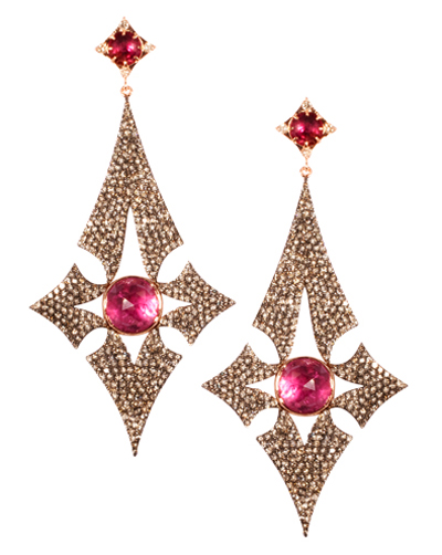 Parulina Arabian Nights Collection pink tourmaline diamond earrings