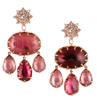 Parulina Arabian Nights Collection interchangeable pink tourmaline diamond earrings, front