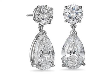 Pear-Shaped Brilliant Diamond Drop Earrings - in Platinum - (8.07 CTW) by Ritani