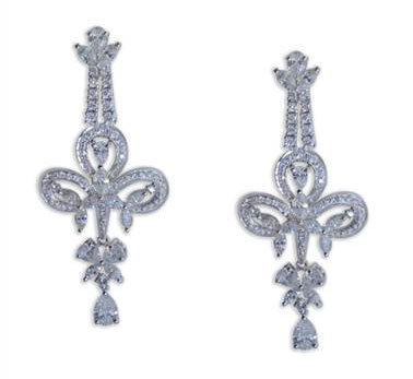 18KT White Gold Round, Pear Shaped Chandelier Earrings at I.D. Jewelry