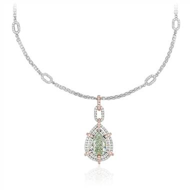 Fancy Green Pear-Shaped Diamond Double Halo Pendant in 18k White and Rose Gold (2.06 ct. tw.) at Blue Nile