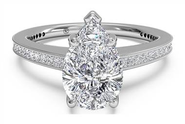 Micropave Diamond Band Engagement Ring with Milgrain Finish - in Platinum (0.40 CTW) at Ritani
