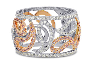 Leibish & Co. - Pink and White Diamond Designer Ring (Image:  Courtesy of Leibish & Co.)