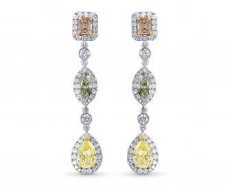 Leibish & Co. - Pink, Green and Yellow Diamond Drop Earrings (Image:  Courtesy of Leibish & Co.)