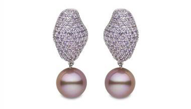 Yoko London for Ritani Pink Pearl and Sapphire Drop Earrings - in 18kt White Gold at Ritani