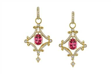 Pink Spinel Forever Huggie Earrings - in 18kt Yellow Gold - (0.82 CTW) at Ritani