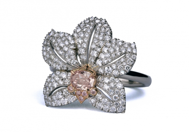 Pink Diamond Orchid Ring by Robinson Designer Goldsmith