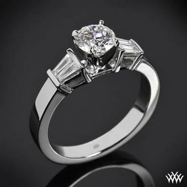 Platinum Baguette Diamond Engagement Ring at Whiteflash