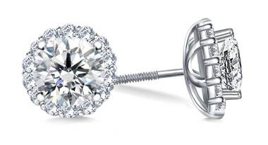 Halo Round Diamond Stud Earring in Platinum at B2C Jewels