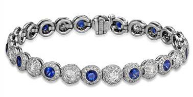Sapphire And Diamond Halo Bracelet - in Platinum - (4.28 CTW) at Ritani