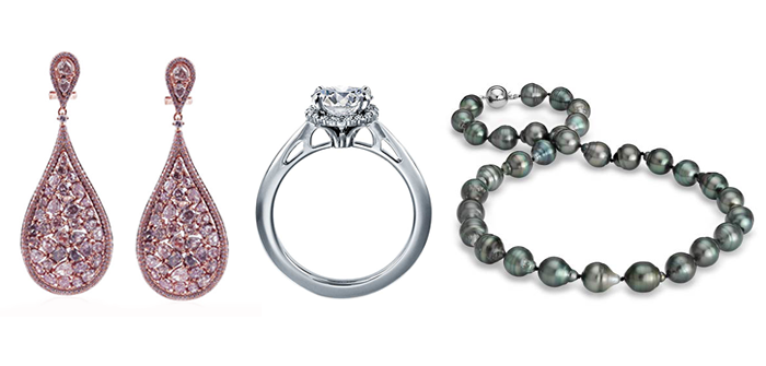 Pricescope's New Jewelry Search: I.D. Jewelry Earrings and Blue Nile engagement ring and pearl necklace