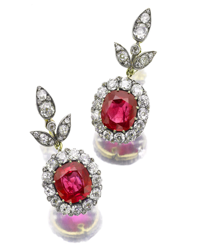 Ruby and Diamond Ear Pendants, Sotheby's Geneva November 14 Sale