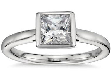 Princess-Cut Bezel-Set Solitaire Engagement Ring in Platinum at Blue Nile