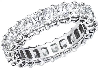 Platinum 4.40ct Princess Cut Diamond Open Airline Eternity Band PR-20-PLAT-IDJ at I.D. Jewelry