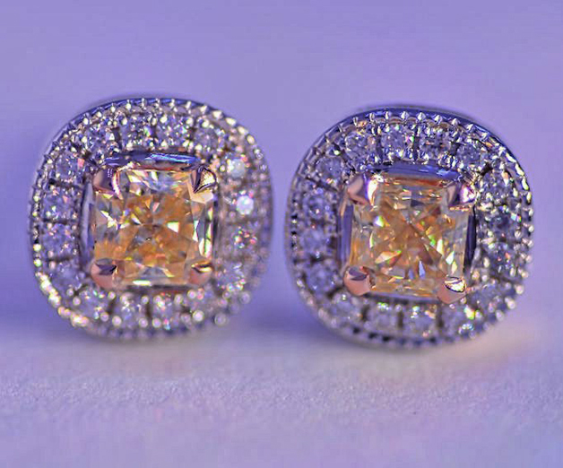 Yellow diamond earrings from Leibish & Co. - Image by RTFrog