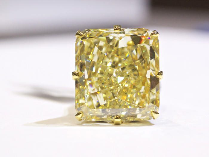 Rahaminov Diamonds Golden Majesty, 40-carat fancy yellow diamond ring • Image by Erika Winters