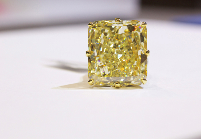 Rahaminov Diamonds 40-carat fancy yellow diamond ring • Image Erika Winters