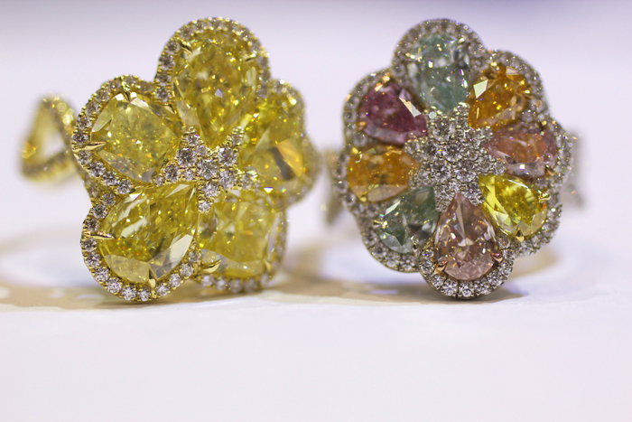 Rahaminov Diamonds Vibrant Bloom diamond ring with fancy yellow diamond ring • Image Erika Winters