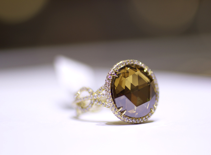 7.14-carat fancy brown rose-cut diamond ring by Rahaminov Diamonds