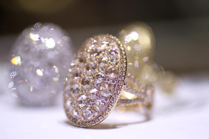 Rose-cut diamond mosaic ring by Rahaminov Diamonds