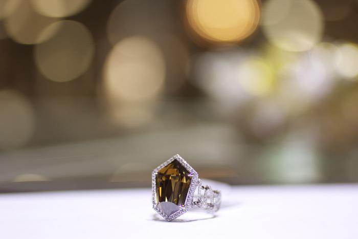 10.97-carat fancy dark brown rose-cut diamond ring by Rahaminov Diamonds