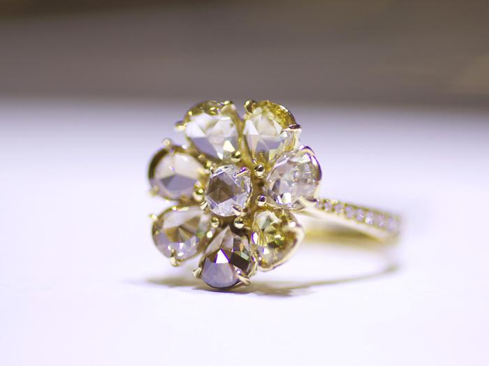 Rose-cut diamond floral ring by Rahaminov Diamonds