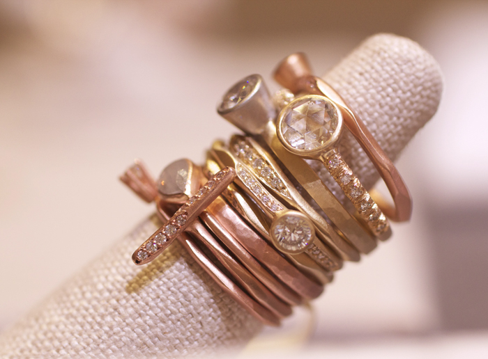 Stackable diamond rings designed by Rebecca Overmann • Image Erika Winters