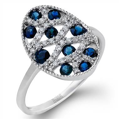 "Zeghani ZR933-137580 ""Revolution Collection"" Diamond and Blue Sapphire Ring by Solomon Brothers"