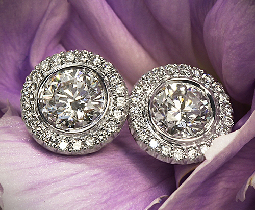 Ritani Bella Vita halo diamond earrings, Whiteflash
