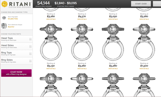 Ritani Custom Ring Designer, styles