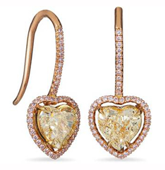 Pink and yellow diamond heart earrings by Ritani