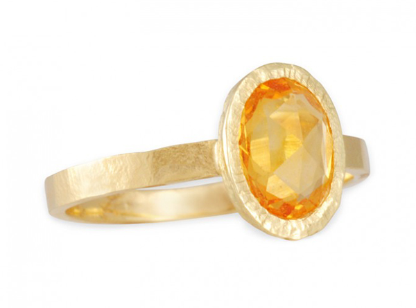 Recycled 18k gold ring with rose-cut orange sapphire by Jennifer Dawes