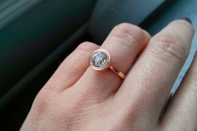 Bezel engagement ring in rose gold with old European cut diamond